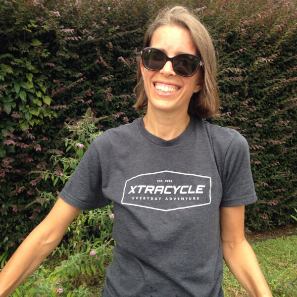 Marie-Claire in the Xtracycle T-Shirt