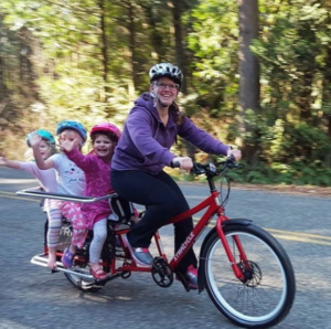 Mom and Kids by Bike