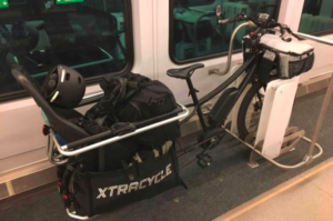 long tail vs. front loader: xtracycle edgerunner on a bus