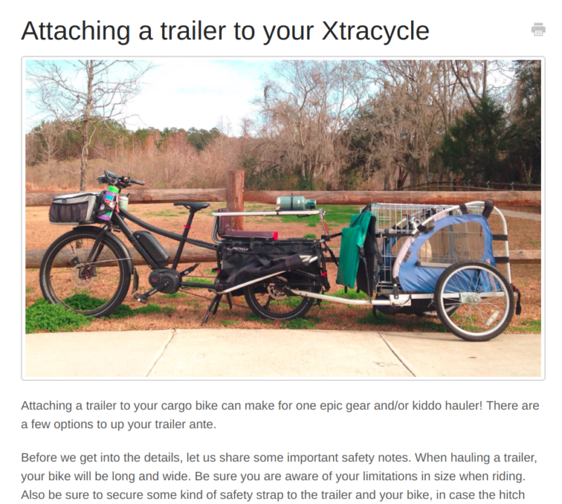 xtracycle cargo bike trailer